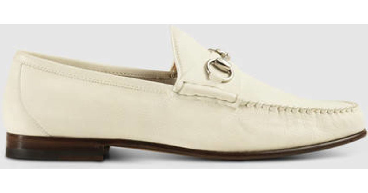 12a533721b2 Lyst - Gucci Horsebit Unlined Leather Loafer in White for Men