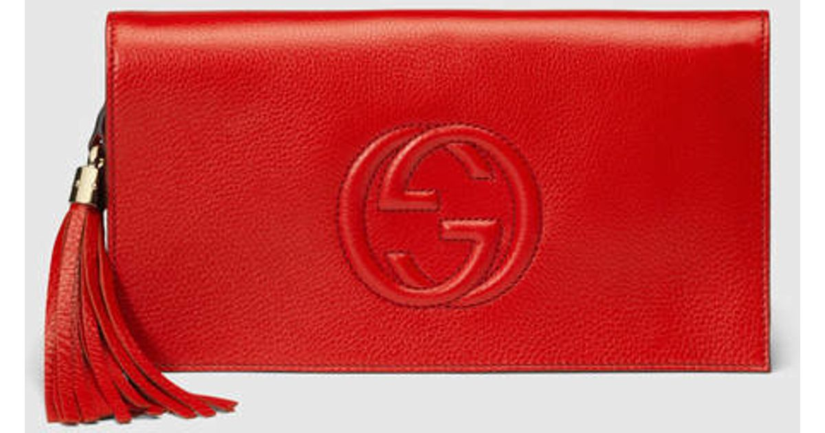 a43a91f2967f Lyst Gucci Soho Leather Clutch In Red. Gucci Red Leather Capri Boston  Shoulder Handbag ...