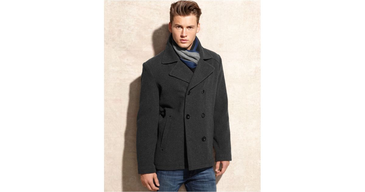 895c57ac385e Lyst Tommy Hilfiger Big Tall Melton Peacoat With Scarf In Purple