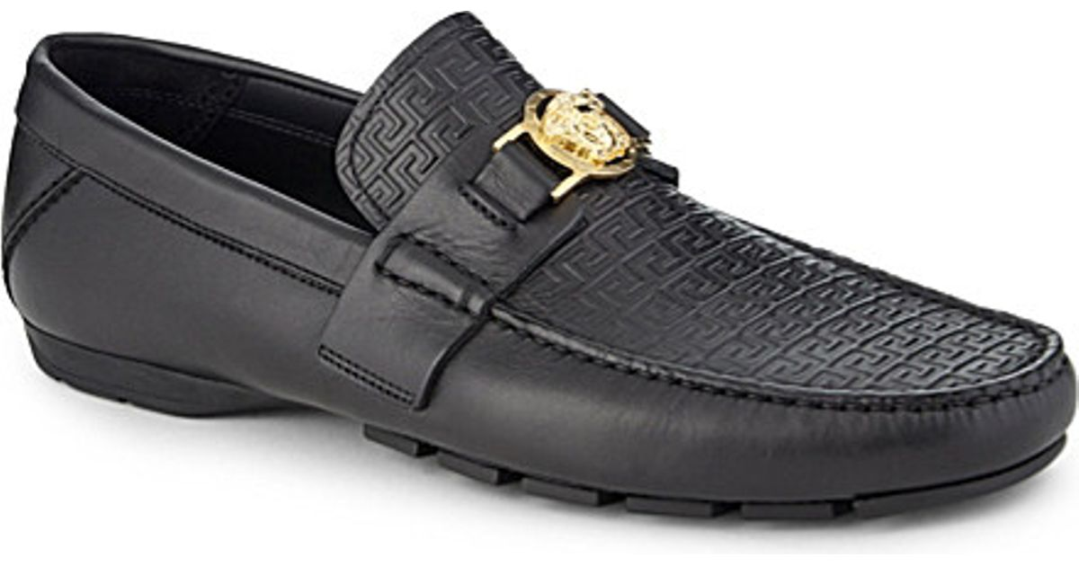 074b4185f35b Lyst - Versace Greco Medusa Leather Driving Shoes in Black for Men
