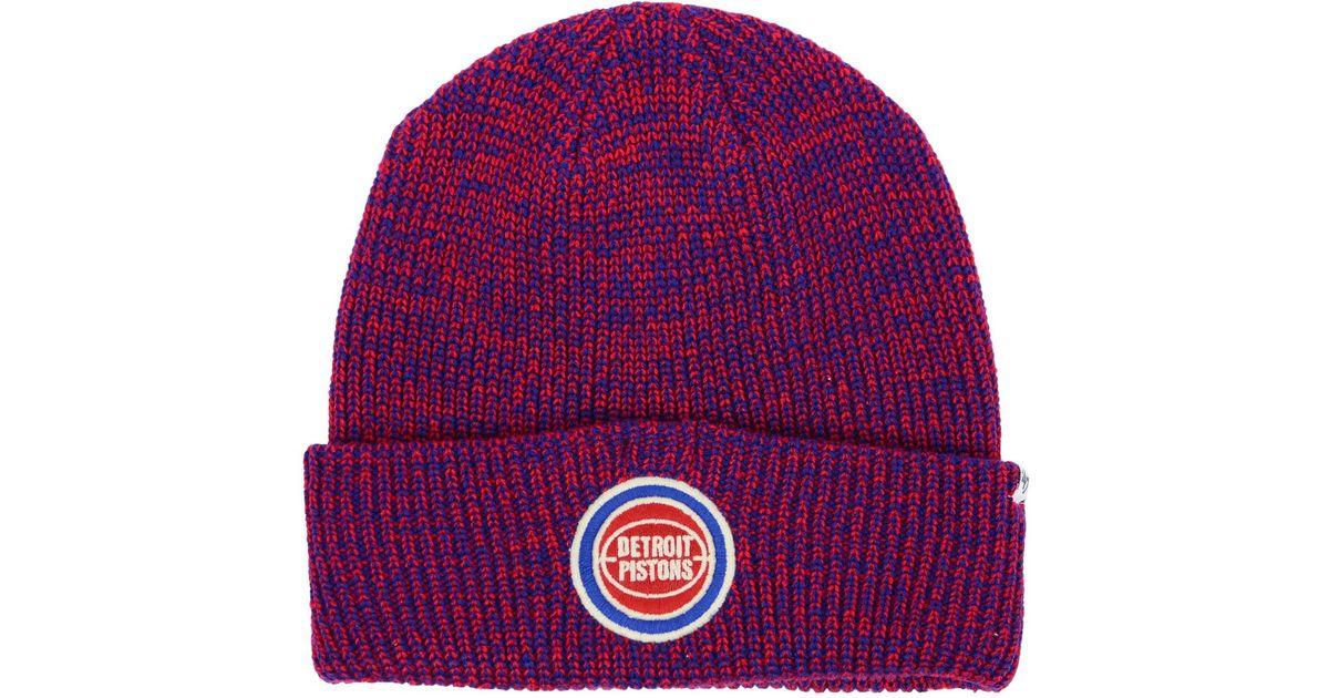 detailed look 51c62 fe6ac ... switzerland lyst 47 brand detroit pistons lancaster cuff knit hat in  red for men bde96 3de5b