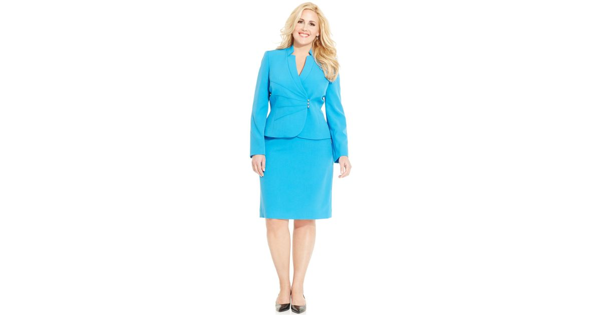 buying cheap Sales promotion beautiful style Tahari Blue Plus Size Skirt Suit