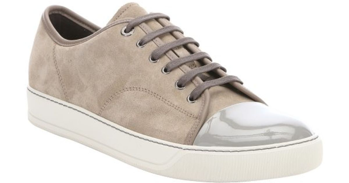 Lyst - Lanvin Beige Suede Contrast Cap Toe Lace Up Sneakers in Natural for  Men
