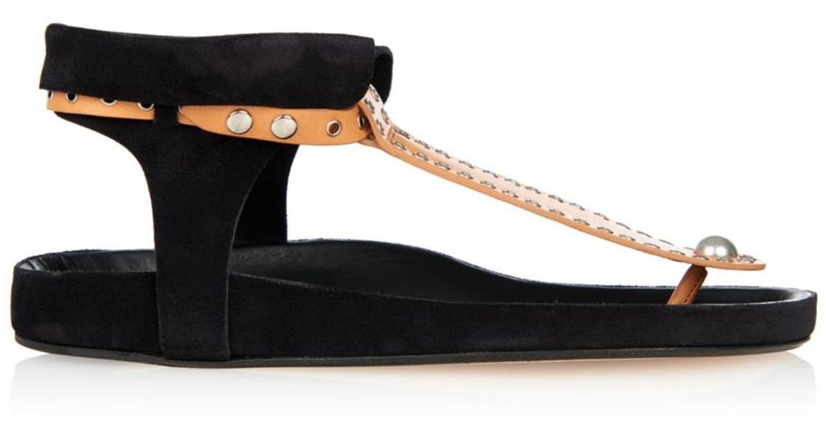 Lyst Isabel Marant Lapsy Suede And Leather Sandals In Black