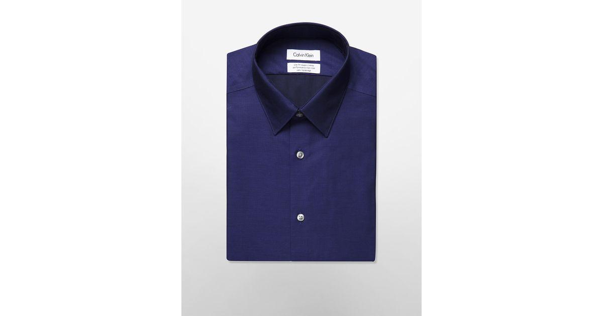 Calvin klein white label steel slim fit non iron solid for White herringbone dress shirt
