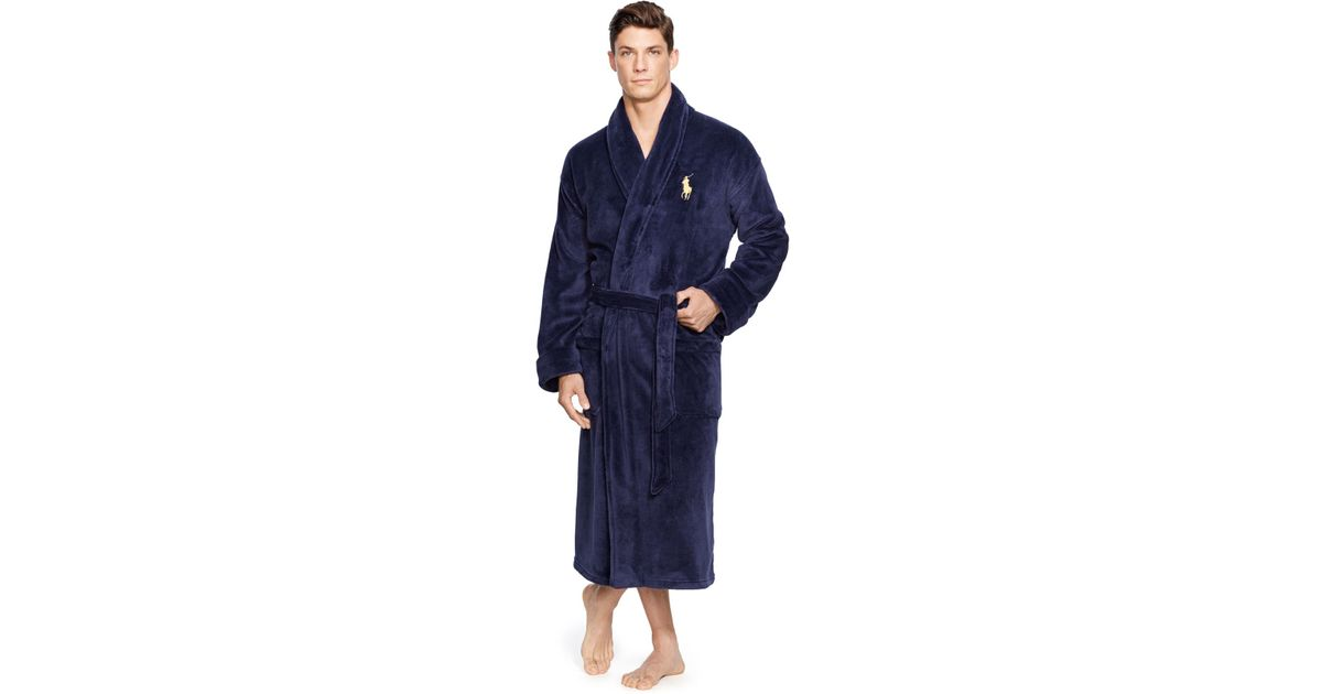 polo ralph lauren men 39 s microfiber plush big pony robe in blue for men lyst. Black Bedroom Furniture Sets. Home Design Ideas