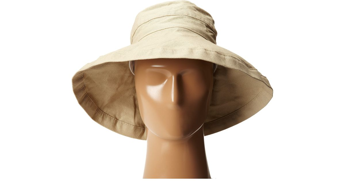 Lyst - Scala Cotton Big Brim Sun Hat With Inner Drawstring in Natural 3414c661485