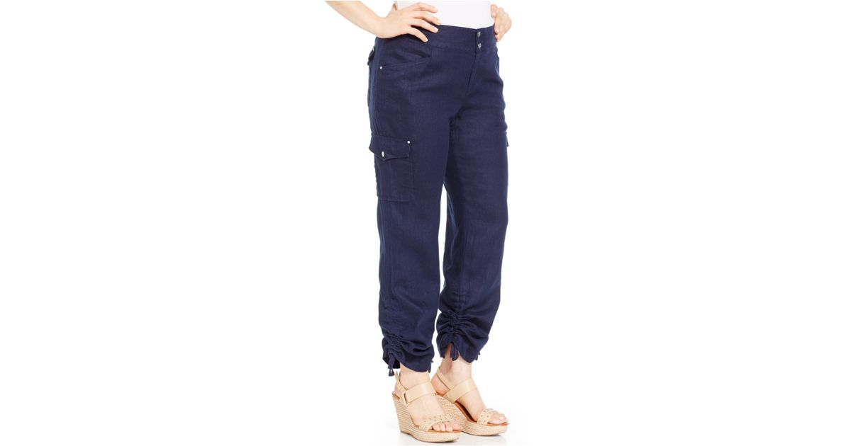 fdb47b2dd16 Lyst - INC International Concepts Plus Size Ruched Linen Cargo Pants in Blue