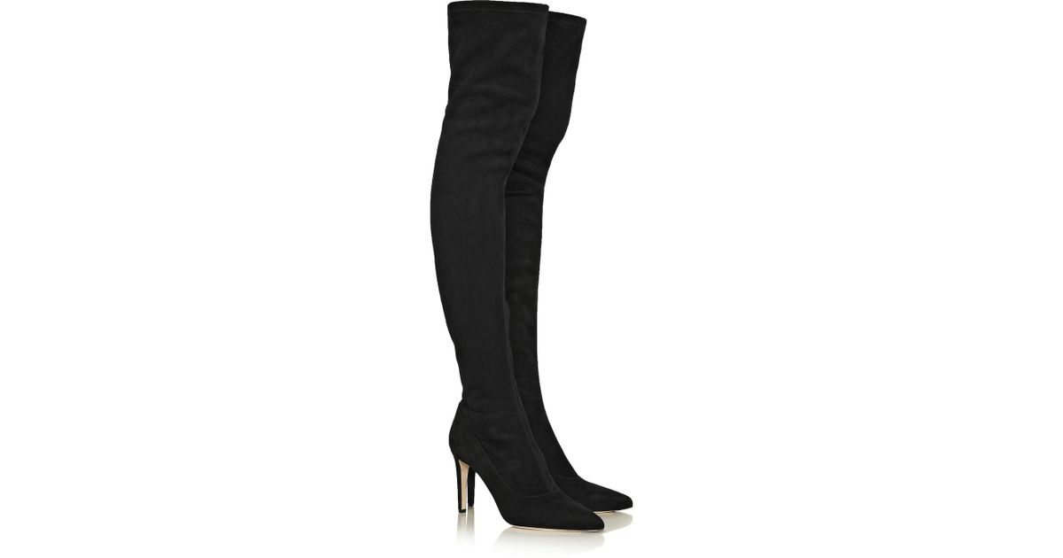 4db72f595d8 Lyst - Sergio Rossi Stretch-Suede Over-The-Knee Boots in Black