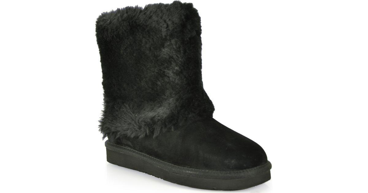 Ugg Shearling Cuff Boot In Black Lyst