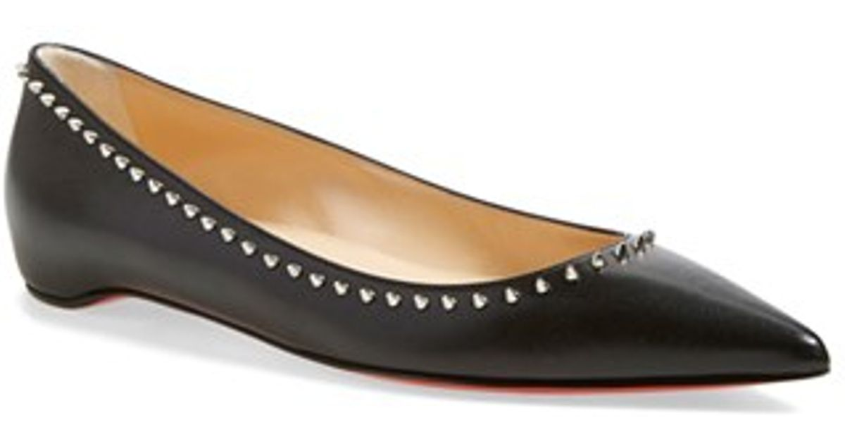 christian louboutin spiked pointed-toe flats