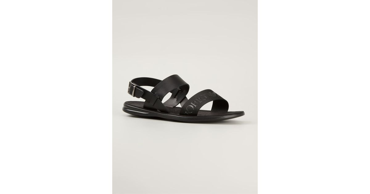 aacf467737a0 Emporio Armani Embossed Logo Strap Sandals in Black for Men - Lyst