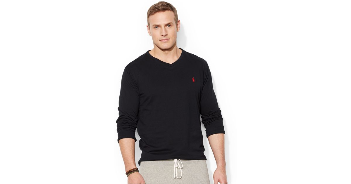 Lyst - Polo Ralph Lauren Big And Tall Long-Sleeve V-Neck T-Shirt in Black  for Men 055c1ffd6706