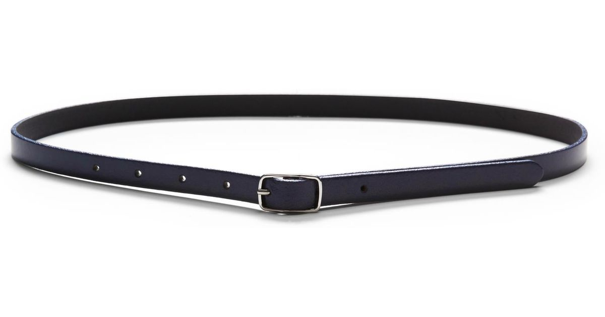 Banana republic Centerbar Italian Leather Skinny Belt in Black (Navy ...