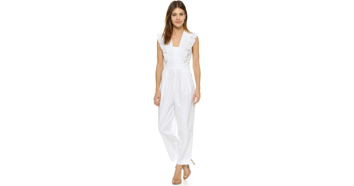 c1759988d0df Lyst - Tibi Pleated Ruffle Culotte Jumpsuit in White