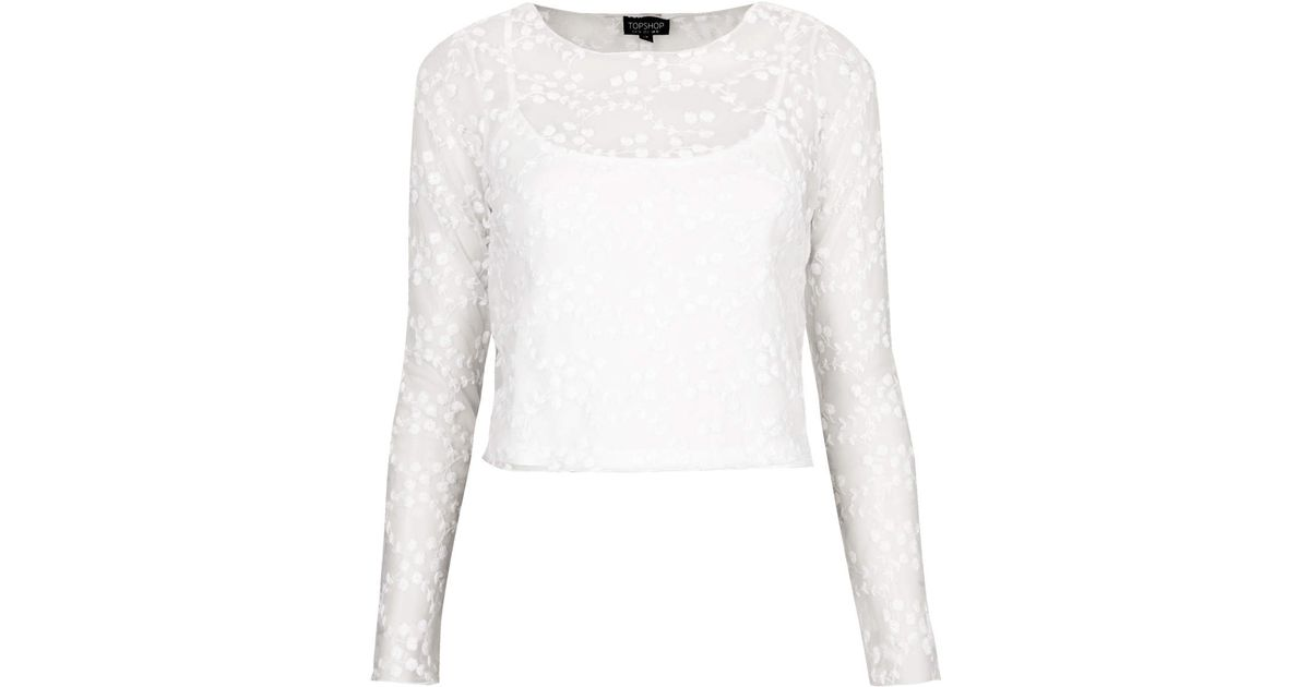 Lyst topshop flower embroidered mesh top in white mightylinksfo