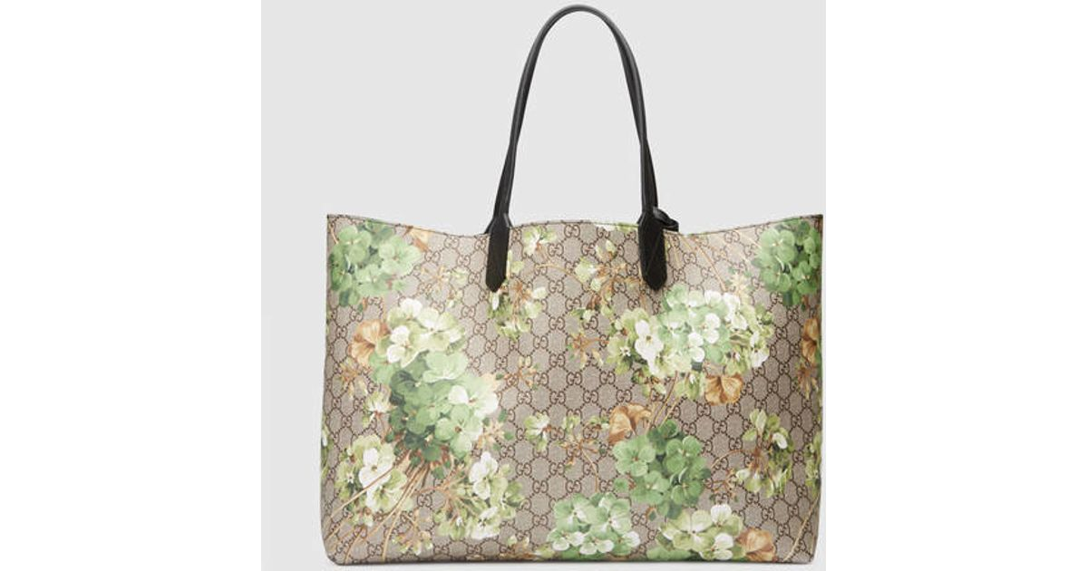 315e4ec70d2 Lyst - Gucci Reversible Gg Blooms Leather Tote in Gray