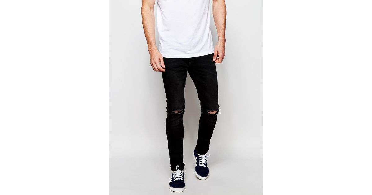 Produkt Washed Black Jeans With Rips In Super Skinny Fit in Black ...