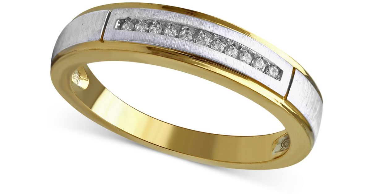 Beautiful Beginnings Mens Diamond Accent Wedding Band 14k Gold And White Gold In White Yellow