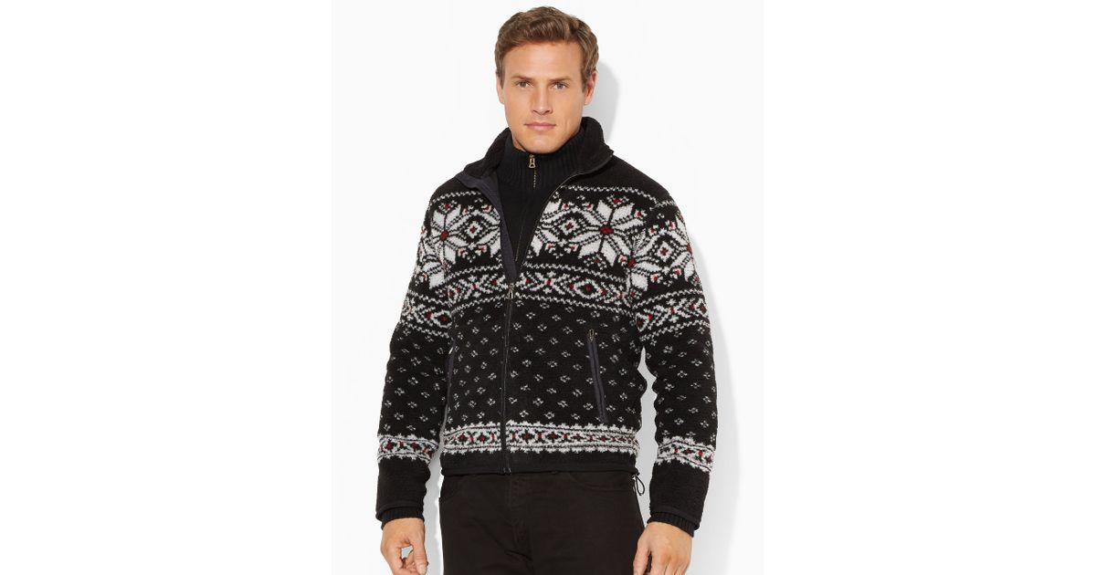Lyst - Ralph lauren Fair Isle Full-Zip Sweater in Black for Men