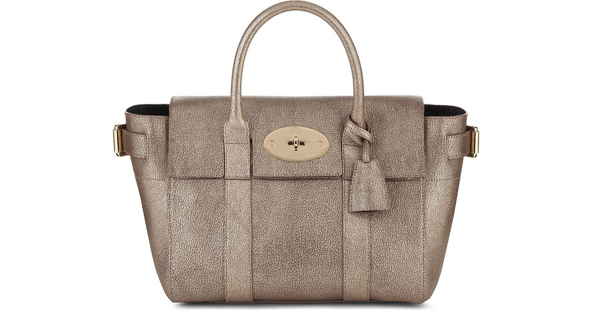 af4cd96ee0 ... usa mulberry bayswater buckle small metallic goatskin tote in gray lyst  7dee6 81ee6