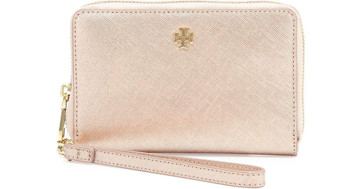51c65010460 Lyst - Tory Burch York Smartphone Wristlet Wallet in Pink