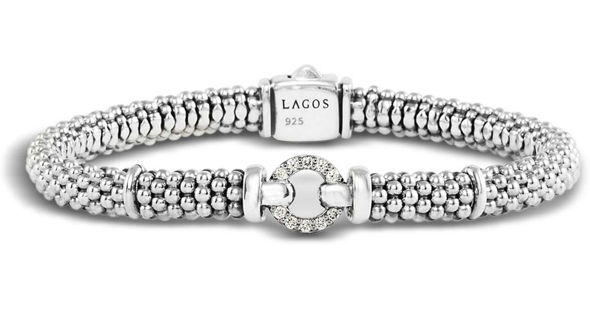 Lagos Enso Sterling Silver Caviar Bracelet With Diamonds