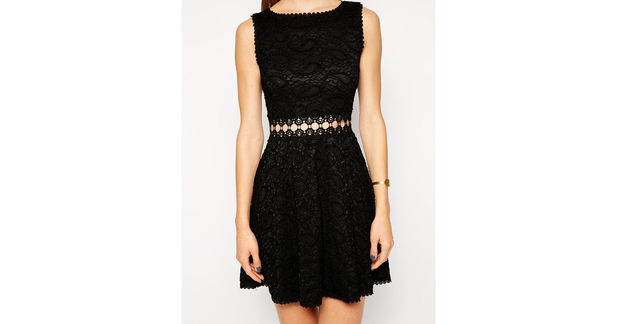 Ax paris black lace panel collar dress