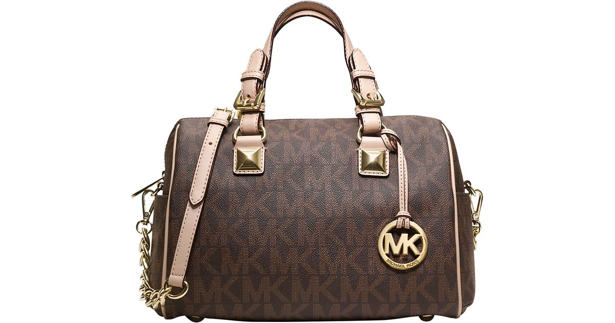 818695023982 ... italy lyst michael michael kors grayson leather monogram shoulder bag  in brown 34eeb ef89a