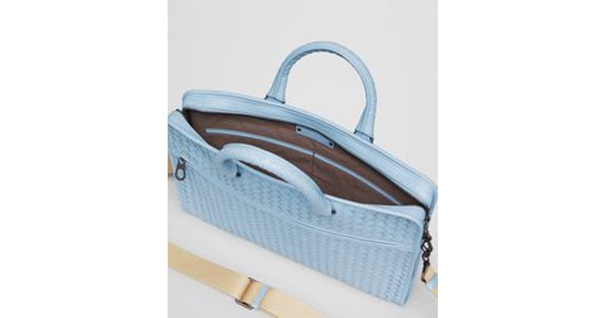 5081b221bbb4 Lyst - Bottega Veneta Ciel Intrecciato Light Calf Briefcase in Blue for Men