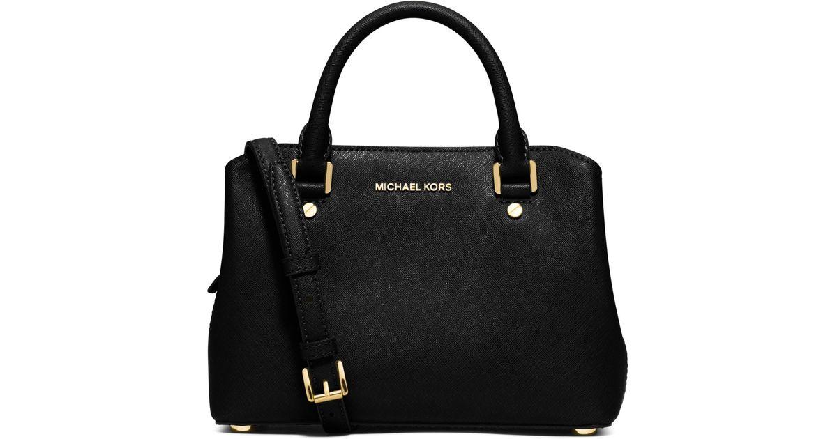 ... tote bag c3680 93ca6  new style lyst michael kors savannah small saffiano  leather satchel in black 181f7 e8b64 e4dd918b10