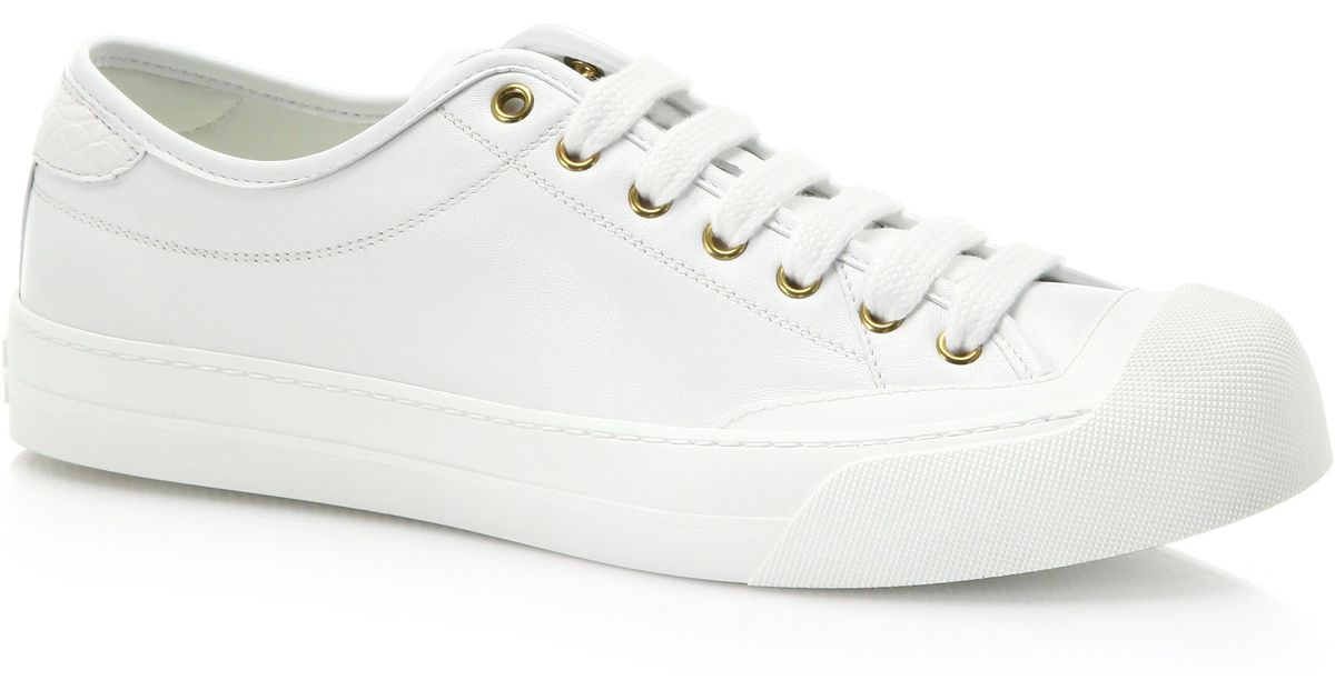 ba9f2bba924 Lyst - Gucci Croc   Leather Low-Top Sneakers in White
