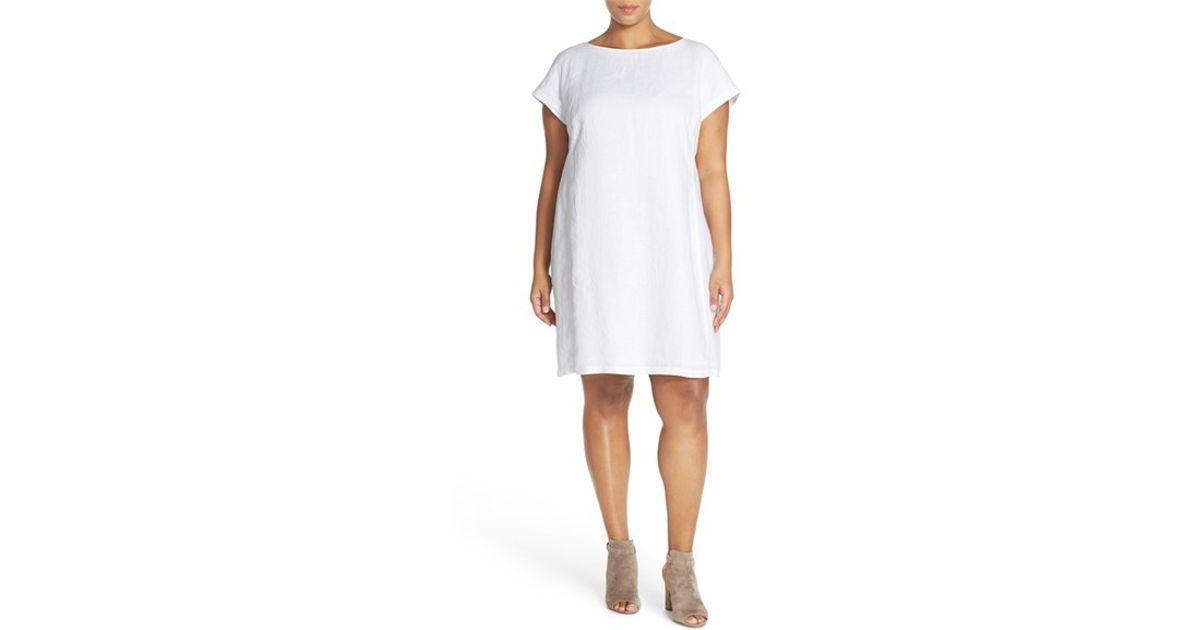 066ed4f9ea Lyst - Eileen Fisher Bateau Neck Organic Linen Shift Dress in White