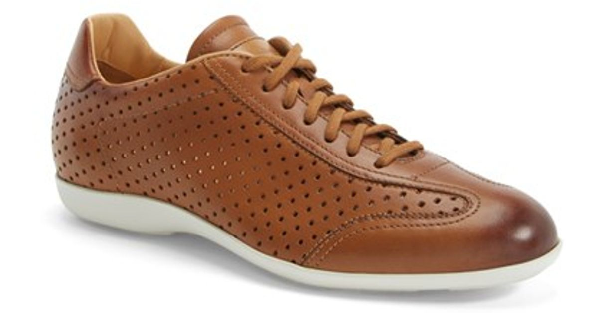 Mens Perforated Leather Sneaker