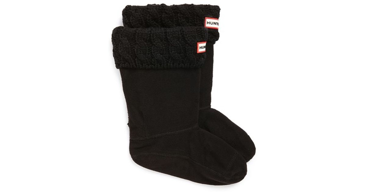 Free Knitting Pattern For Welly Socks : Hunter Cable Knit Cuff Welly Boot Socks in Black Lyst