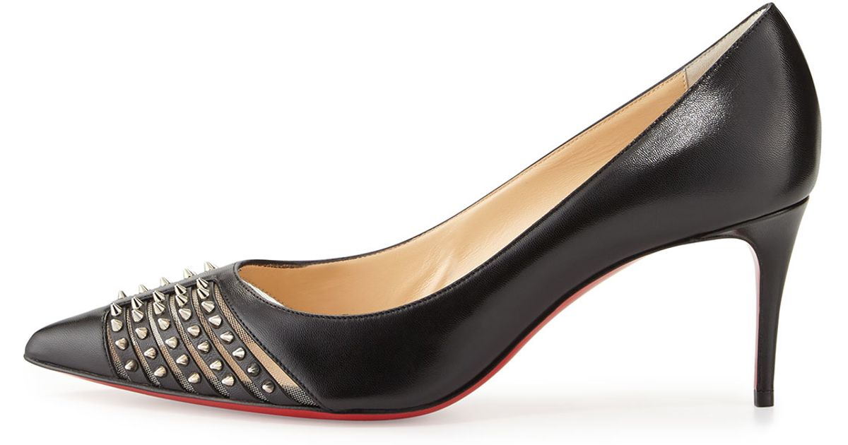 Christian louboutin Baretta Studded Low-heel Red Sole Pump in ...