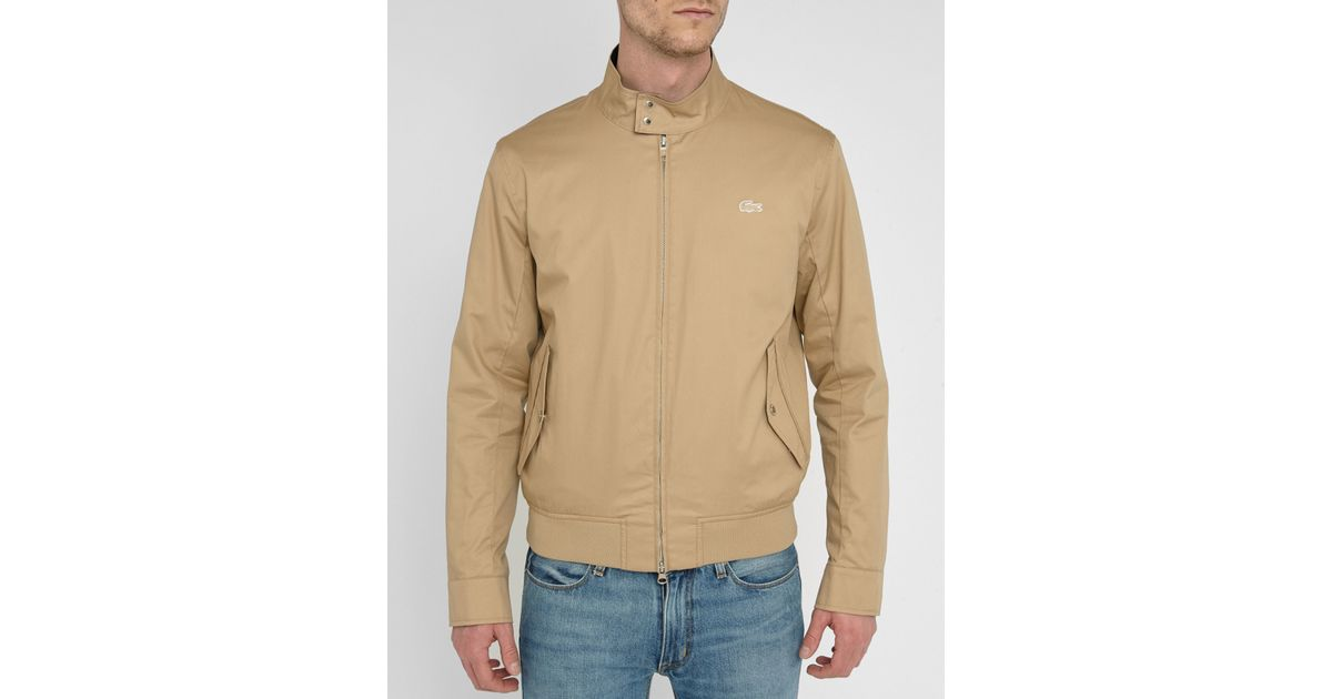 Lacoste beige press studs collar cotton bomber jacket in for Dress shirt studs uk