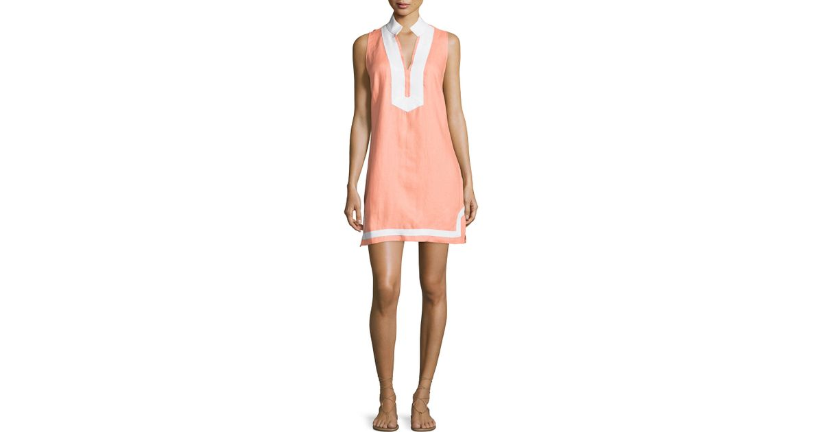 16efac6266 Lyst - Sail To Sable Classic Linen Sleeveless Dress in Pink