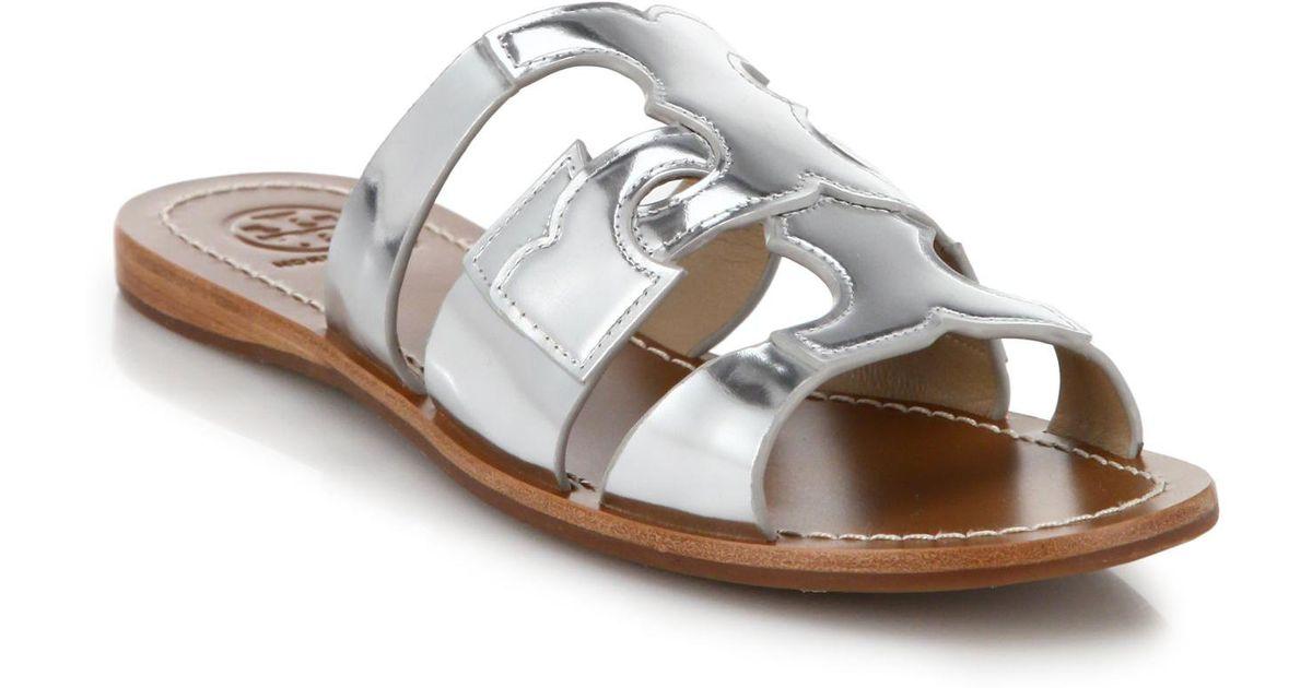 167bd3faf7d10 Lyst - Tory Burch Anchor Metallic Leather Slide Sandals in Metallic