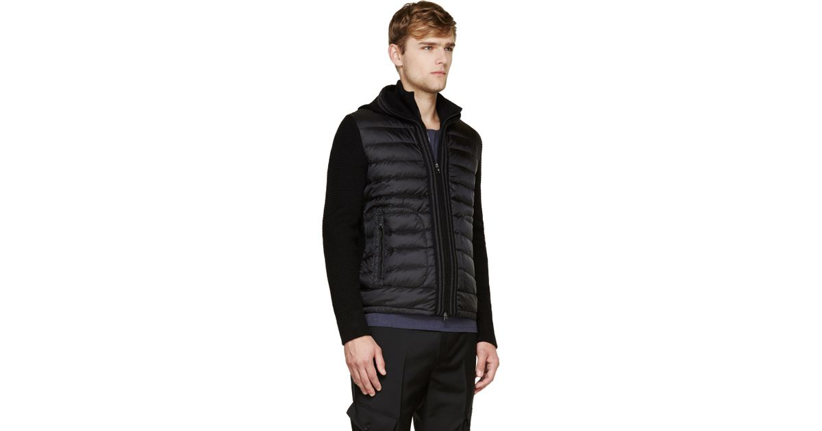 moncler black insulated knit hoodie
