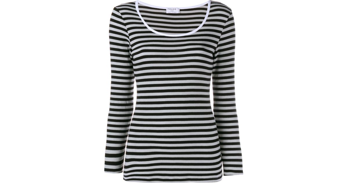 Frame Striped Long Sleeve T Shirt In Black Save 68 Lyst