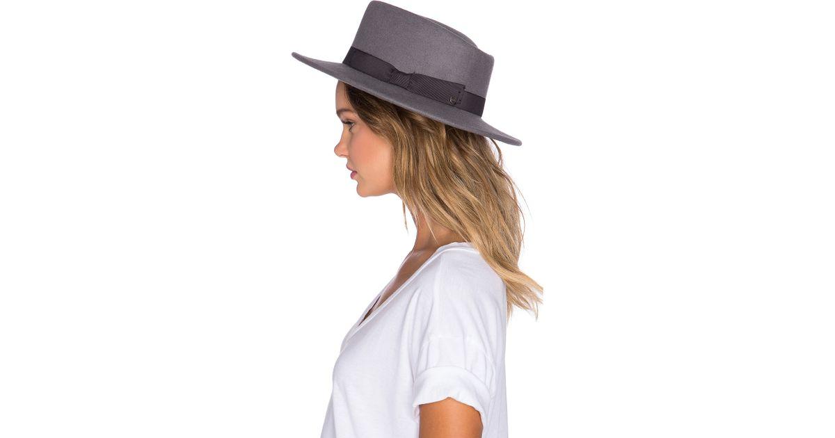 eaa357f1a4ba4 Brixton Alex Hat in Gray - Lyst