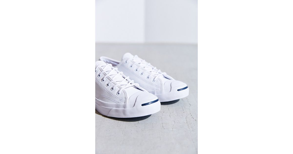 d3ed2522aef4 Lyst - Converse Jack Purcell Tumbled Leather Low-Top Sneaker in White