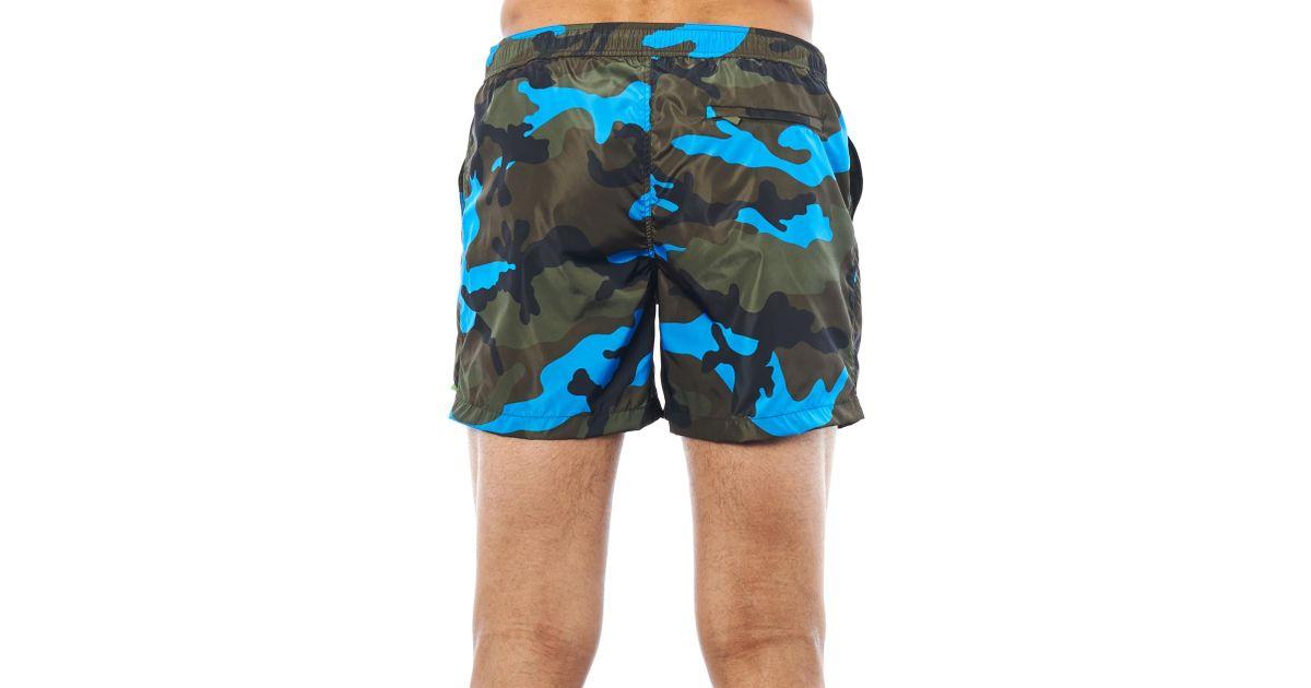1b04675479 Valentino Fluro Pop Camoflague-Print Swim Shorts in Green for Men - Lyst
