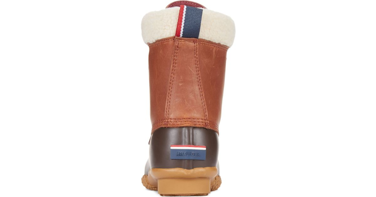 f50c32a9f5bb Lyst - Tommy Hilfiger Women s Russel Faux-fur Duck Booties in Brown