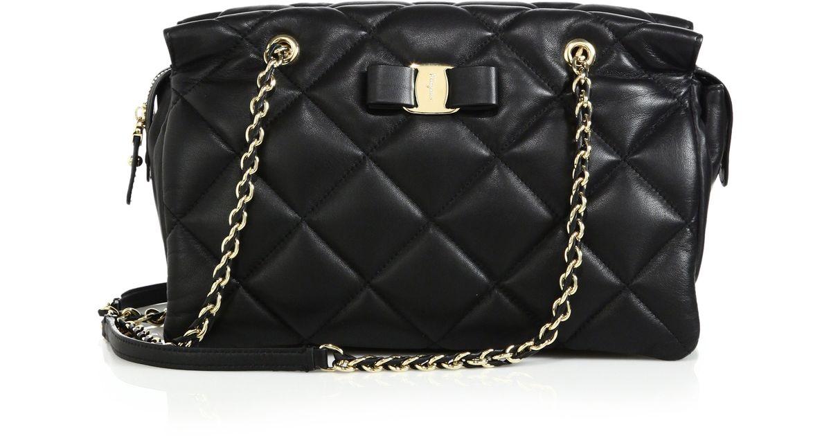 52f89e0051 Lyst - Ferragamo Ginette Quilted Leather Shoulder Bag in Black