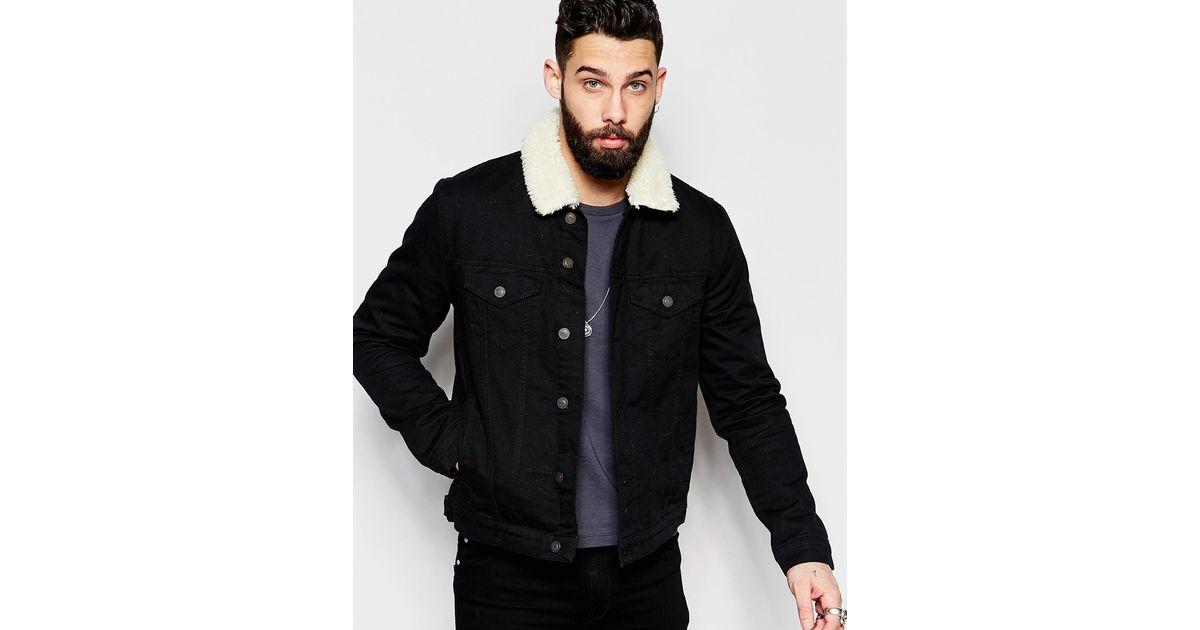 8f7c5172d820 Lyst - ASOS Denim Jacket With Borg Collar In Black Wash in Black for Men