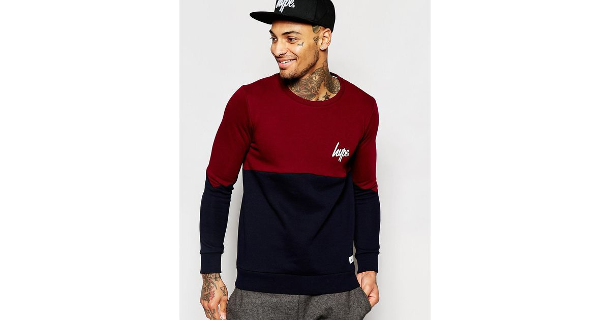 Lyst - Hype Sweatshirt With Curved Panel in Blue for Men