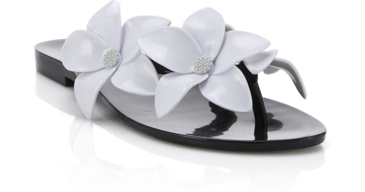 85a25810b Lyst - Melissa Harmonic Flower PVC Flip-Flops in Black
