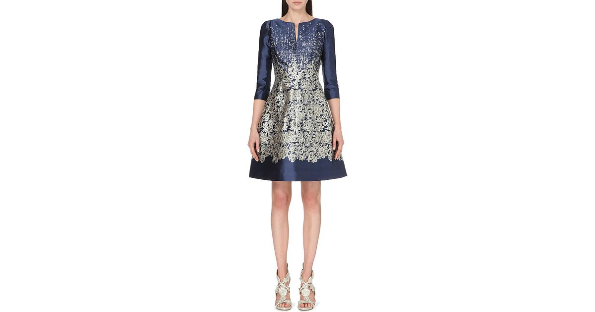 14189911af Oscar de la Renta Lace-print Silk And Cotton-blend Dress - For Women in Blue  - Lyst
